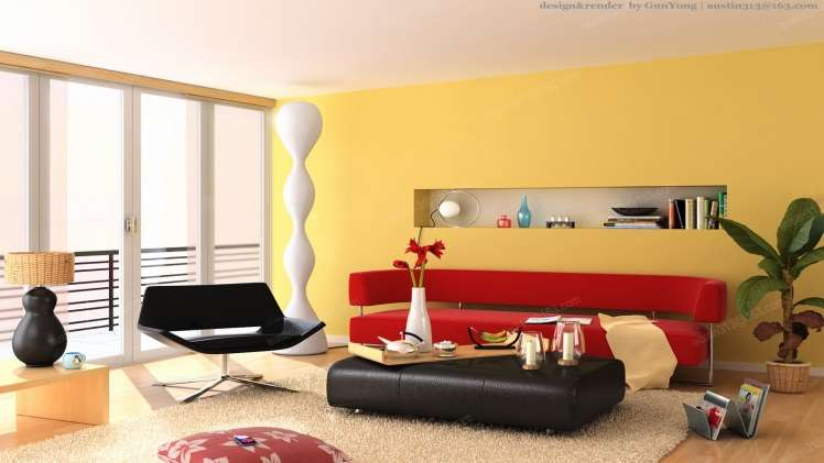 29 Yellow Red Living Room