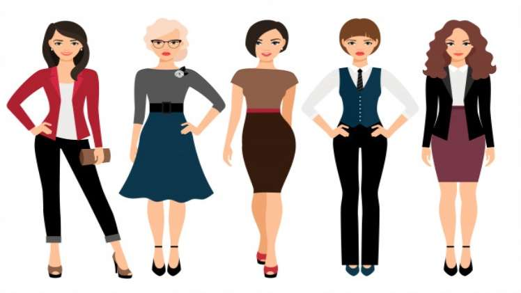 Exclusive various characters of woman dress cuts