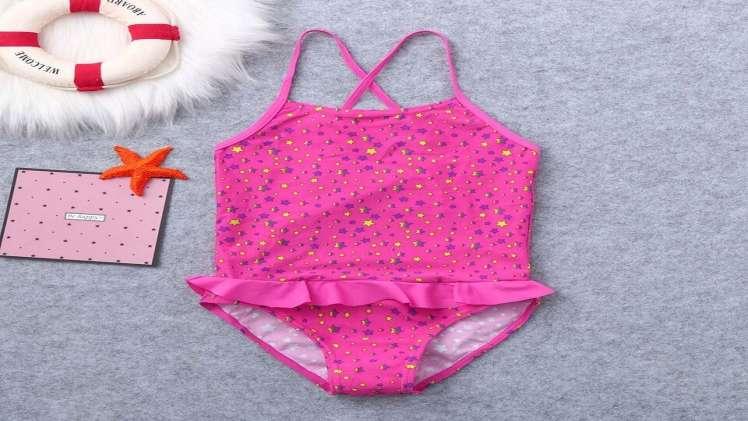 New Fashion 2019 Girls Swimwear Kids Girls Ruffles Star Print Summer Swimwear Swimsuit Vest Romper