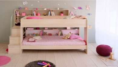 wooden with staircase twin beds for girls